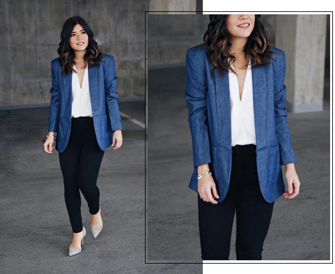 Carolina Hellal of Chic Talk wearing denim blazer via Thacker NY