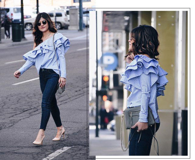 Carolina Hellal of Chic Talk wearing a Chicwish ruffle top, Paige skinny jeans, Sam Edelman nude pumps and Olive green Rebecca Minkoff bag