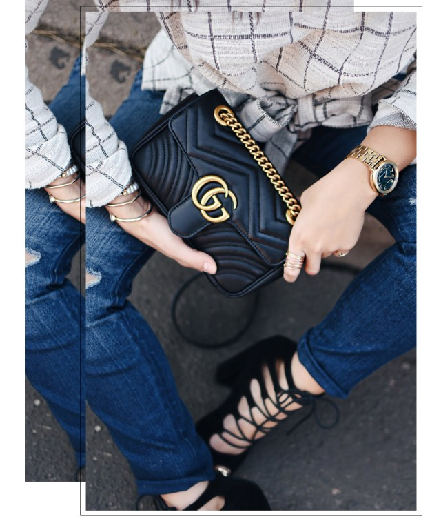 Carolina Hellal of Chic Talk wearing a Madewell top, Madewell jeans, Public Desire shoes and Gucci bag.