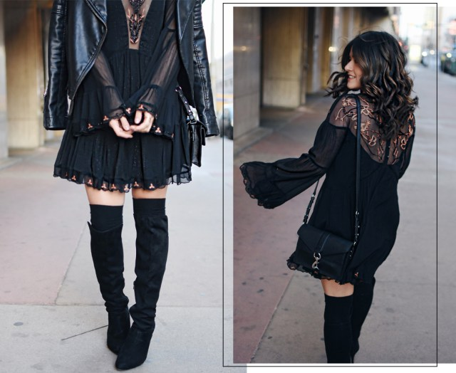 Carolina Hellal of Chic Talk wearing a Free People dress, Rebecca Minkoff crossbody bag, Topshop faux leather jacket, and Vince Camuto over the knee black boots