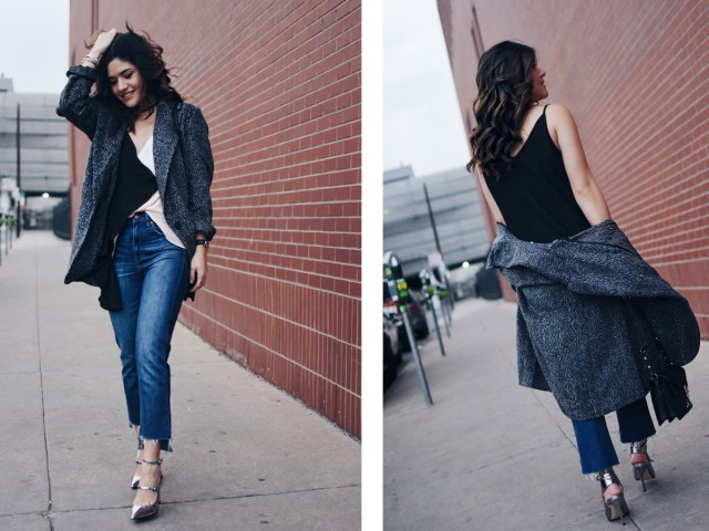 Carolina Hellal of Chic Talk wearing a Shein top and jacket, Madewell jeans, Rebecca Minkoff bag, and Marc Fisher silver pumps