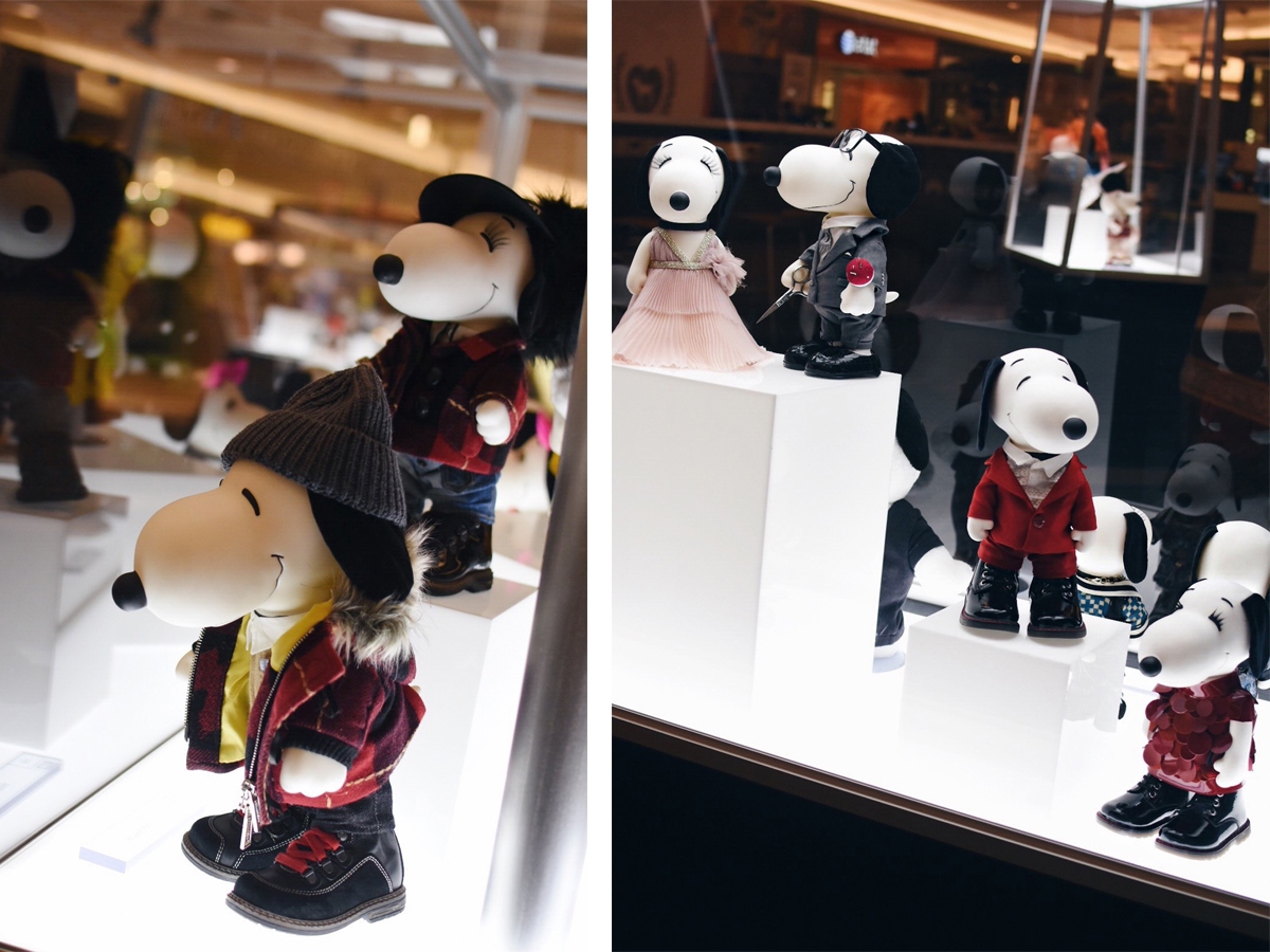 Snoopy & Bella in fashion exhibition at Cherry Creek Mall in Denver featuring mini couture outfits from the world's foremost designers.