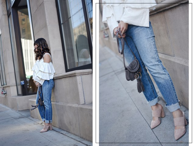 Carolina Hellal wearing a Moon River ruffle top, H&M straight jeans, na-kd nude mules, and See by Chloé polly crossbody bag