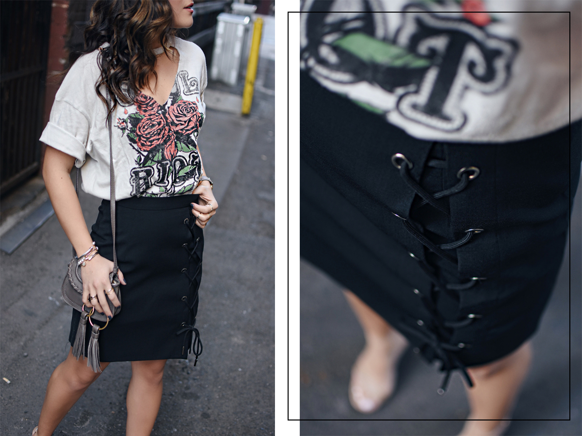Carolina Hellal of Chic Talk wearing a Topshop t-shirt, Chicwish lace up skirt, See by Chloé bag, and Steve Madden high heels