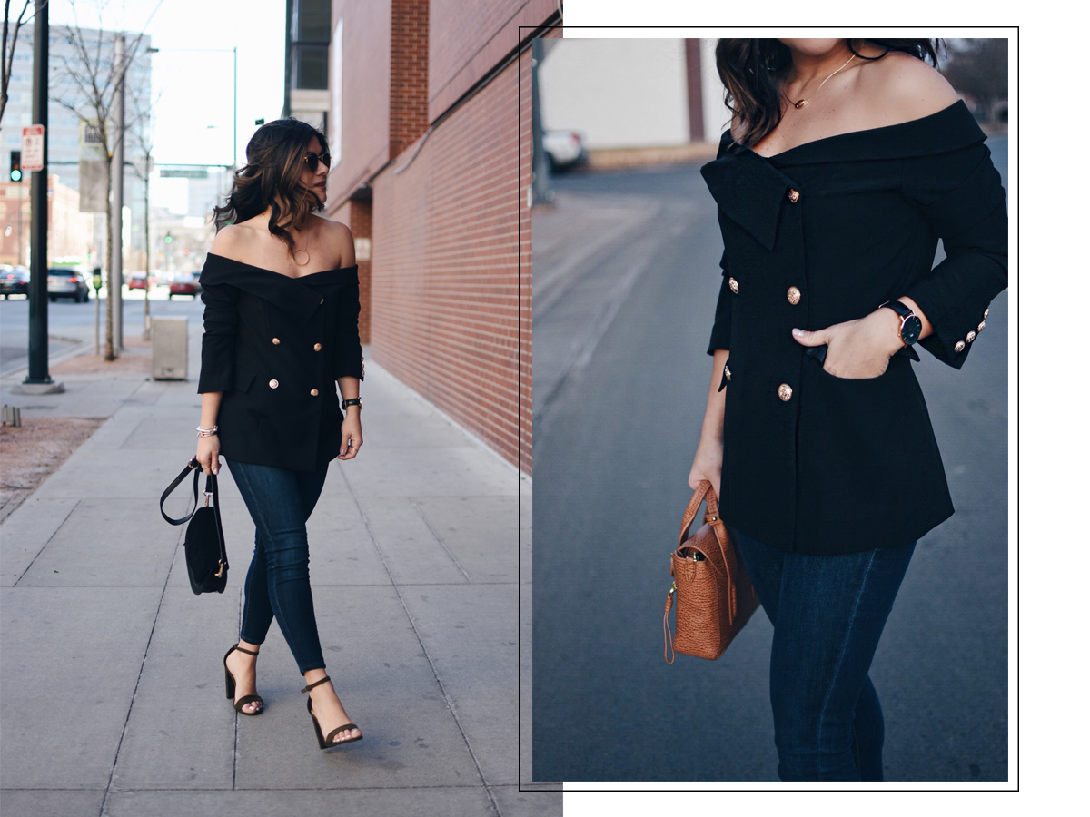 Carolina Hellal wearing a SheIn off the shoulder black top, Paige skinny jeans, Steve Madden sandals, and Rebecca Minkoff crossbody bag