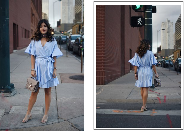 Carolina Hellal of Chic Talk wearing a Topshop spring dress with Donald J.Pliner nude mules and a Marc Jacobs watch.
