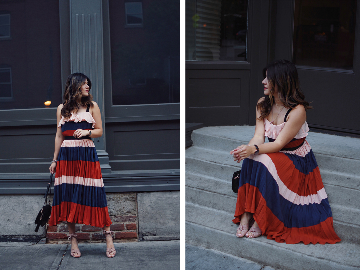 Carolina Hellal of Chic Talk wearing an Endless rose striped dress via Shopbop