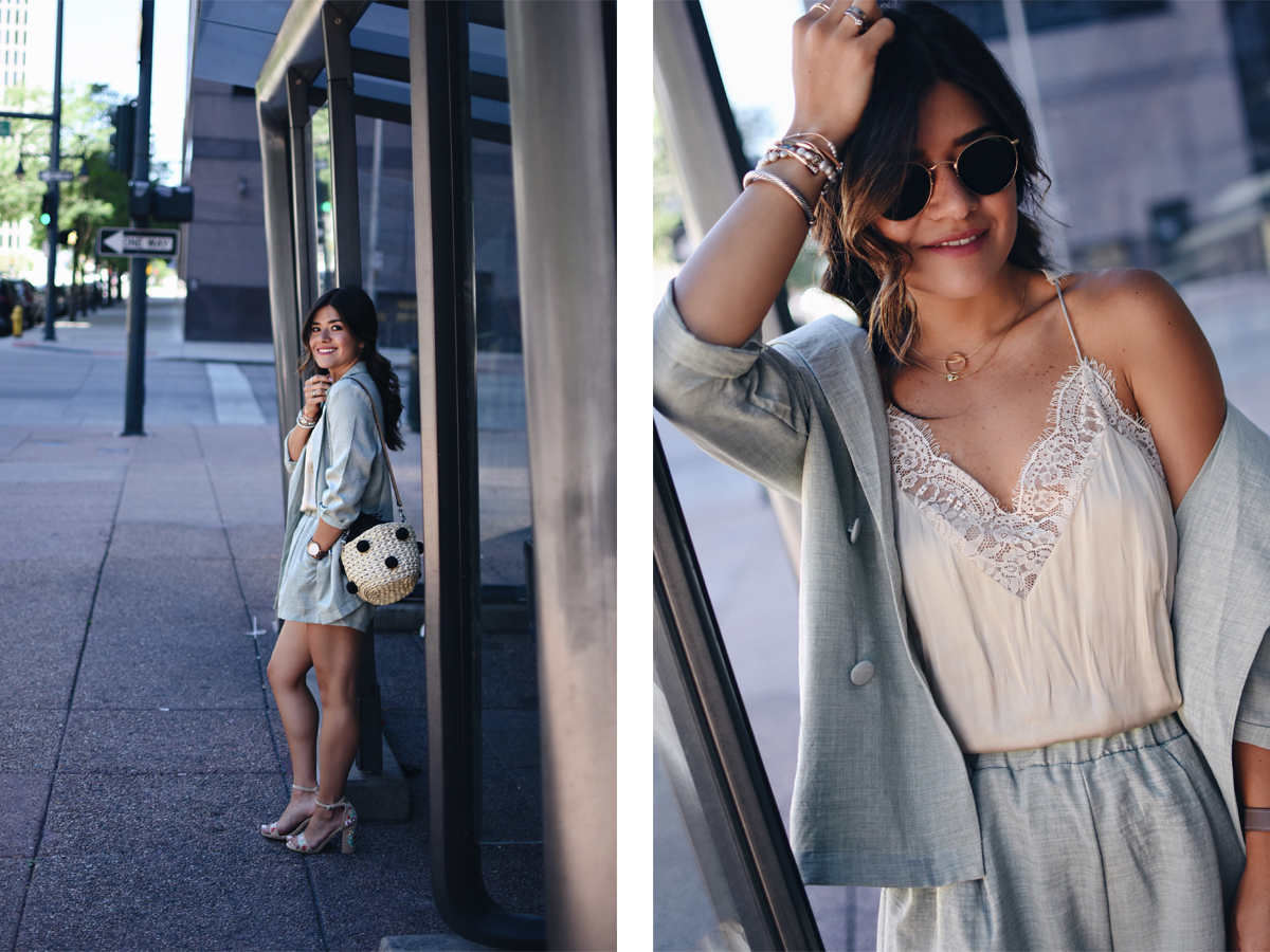 Carolina Hellal of Chic Talk styling a 2-piece set via Shein, Public Desire sandals, H&M lace camisole and Rebecca Minkoffbag