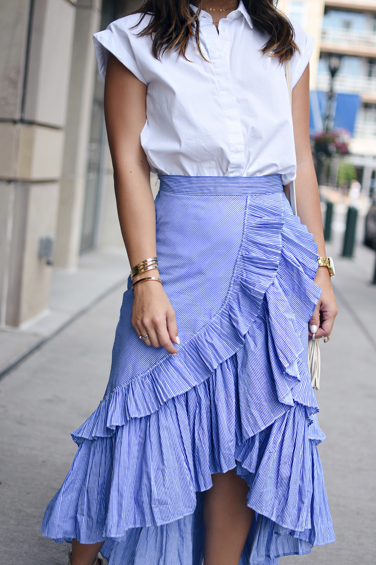 Carolina Hellal of Chic Talk wearing a Chicwish Maxi Skirt, Topshop white button down and Public Desire sandals