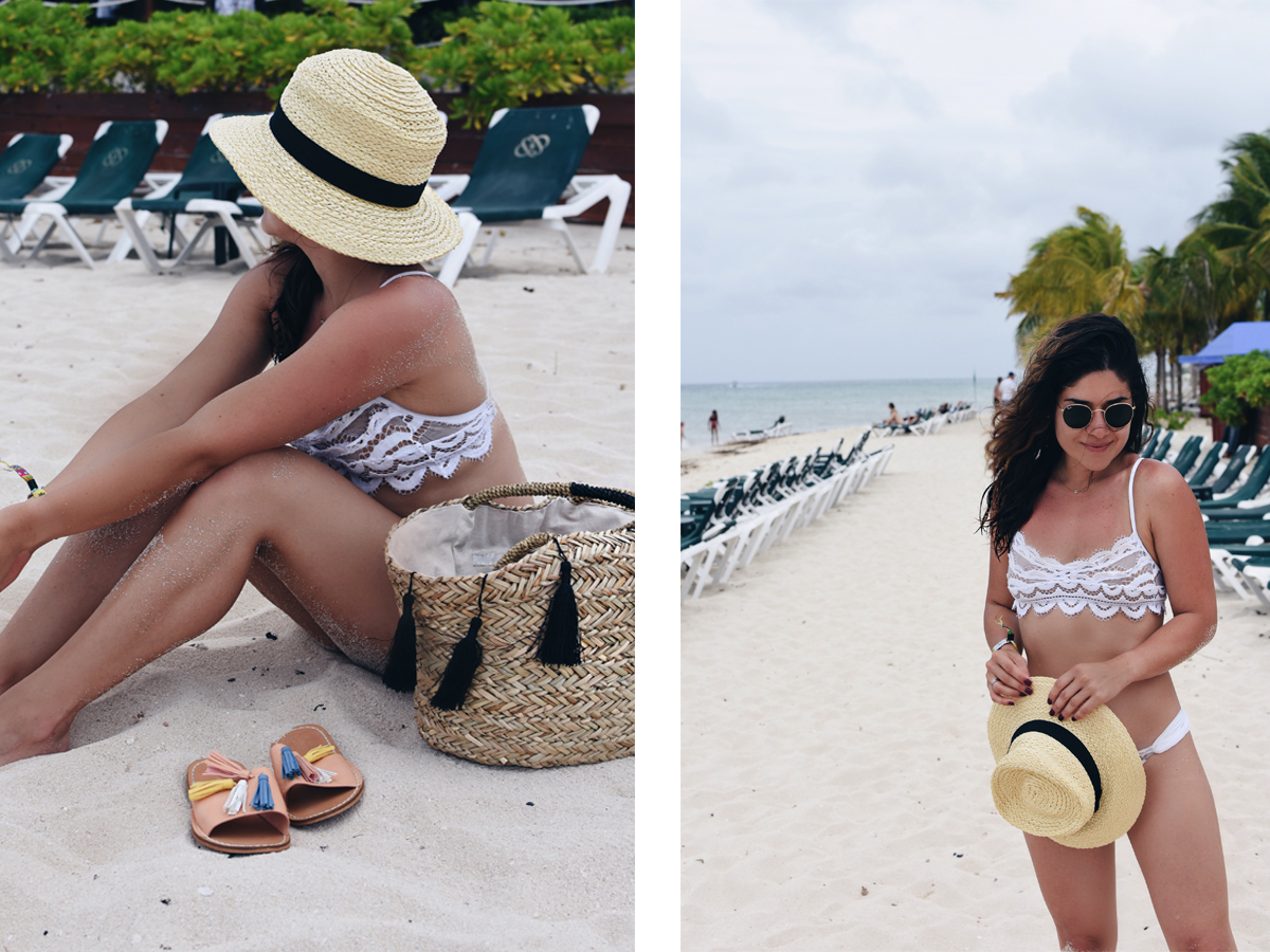 Carolina Hellal of Chic Talk wearing a PiliQ white lace bikini