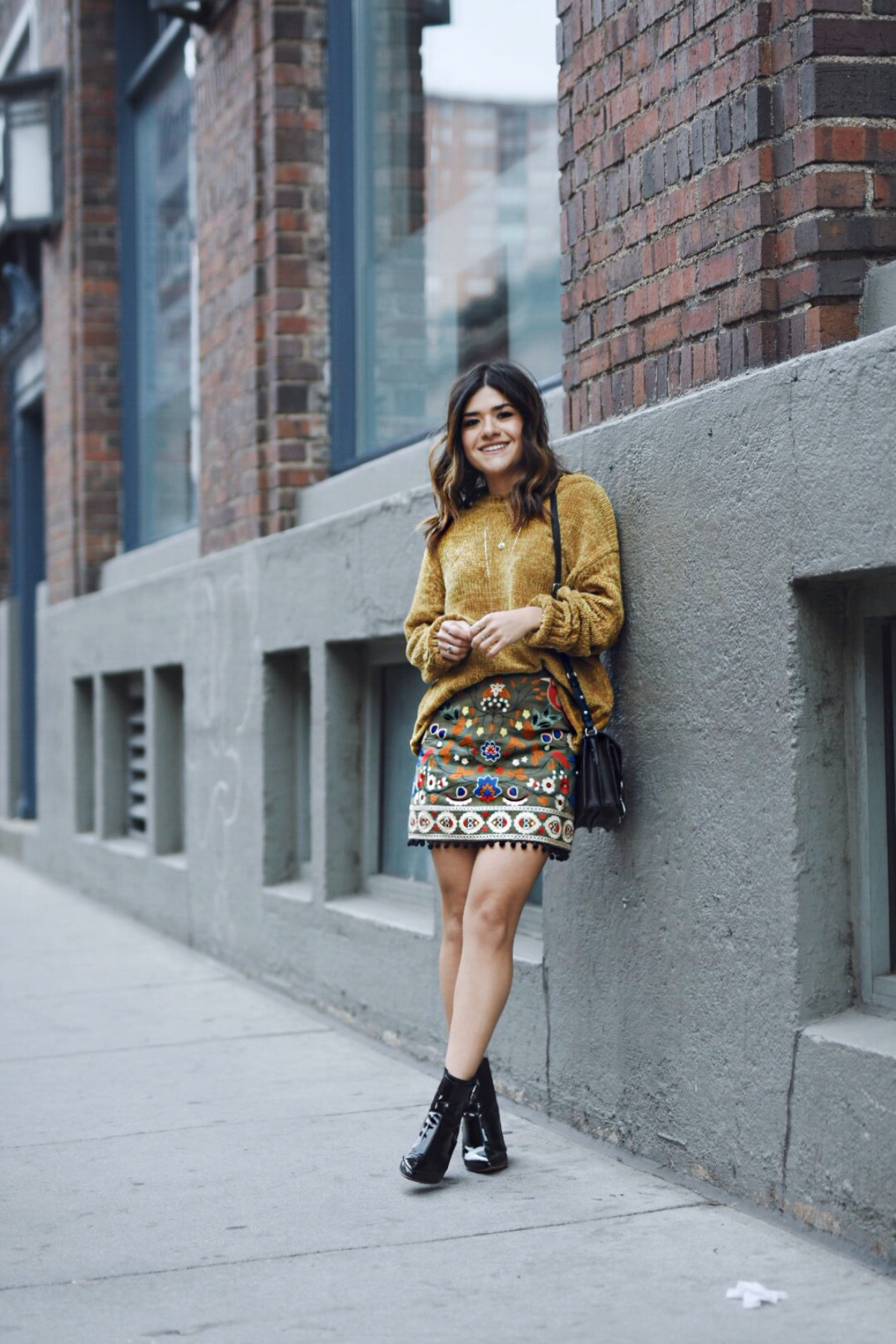 Carolina Hellal of Chic Talk wearing an Altar'd state outfit, h&m booties and rebecca minkoff bag