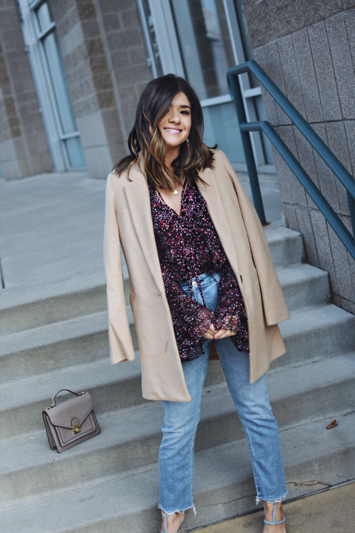 Carolina Hellal of Chic Talk wearing a Parker NY Keenya blouse, Old Navy camel coat and Bauble Bar earrings