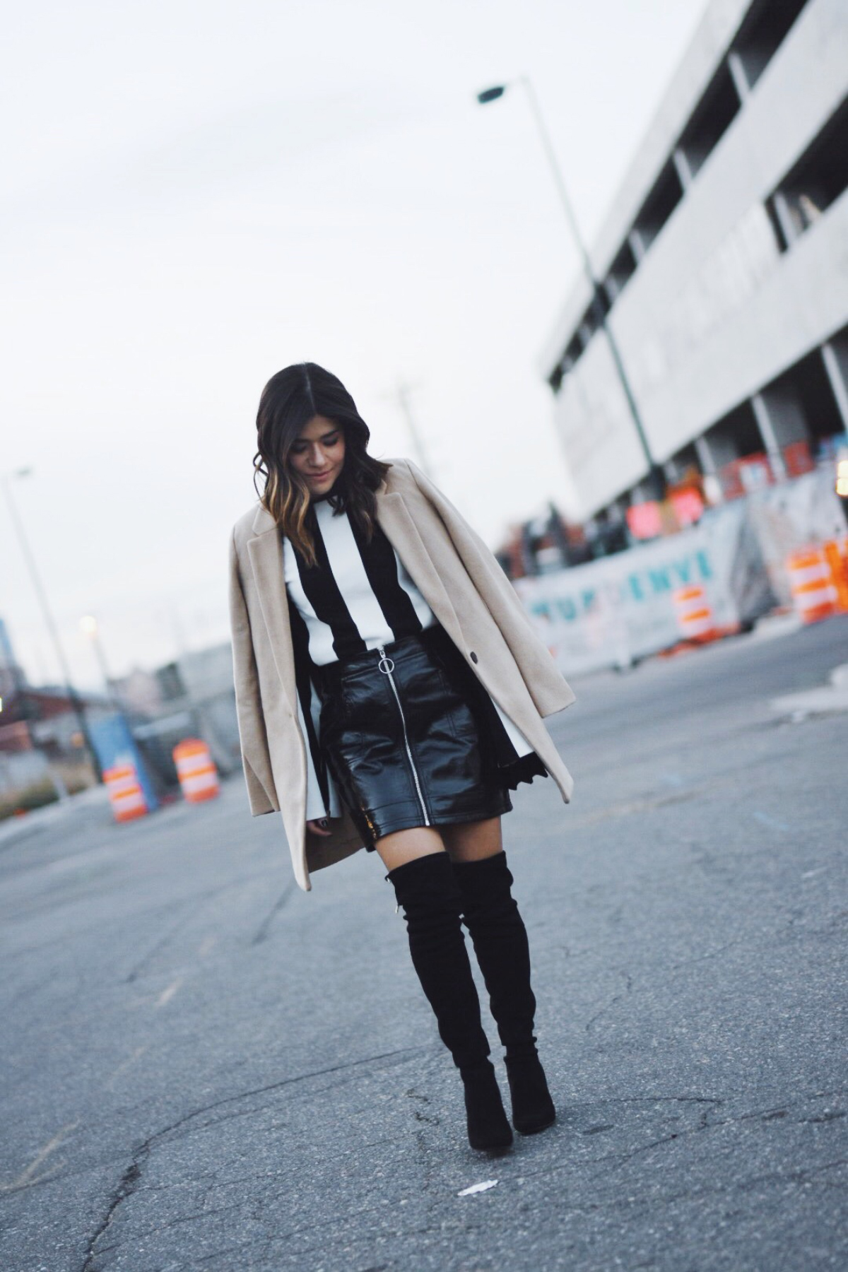 Carolina Hellal of Chic Talk wearing a Topshop top, skirt and Steve Madden Boots