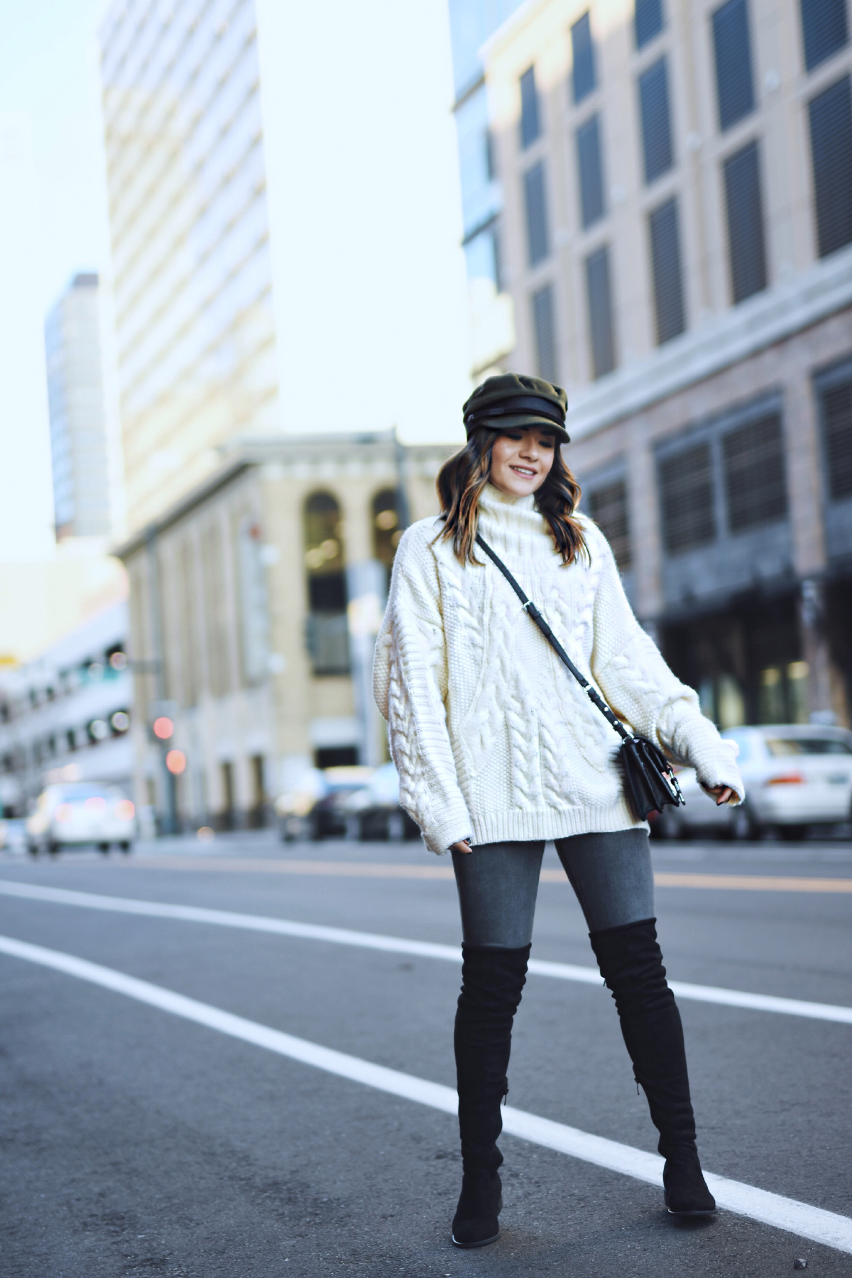 Carolina Hellal of Chic Talk wearing a knit sweater, AG Jeans, public desire boots and asos hat - BEST KNIT SWEATERS UNDER $100 by popular Denver fashion blogger Chic Talk