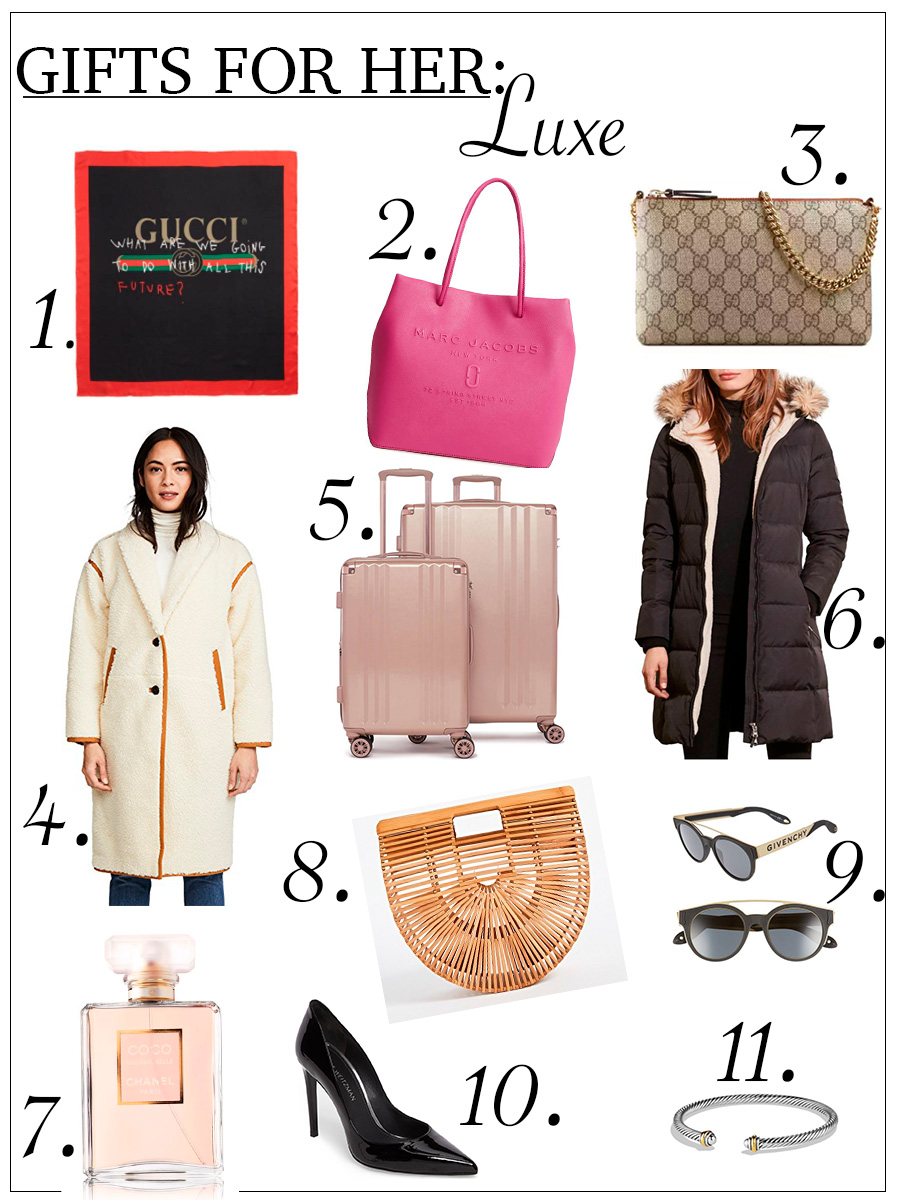 This is a collage with pictures that features luxe gift ideas for her for the holidays.