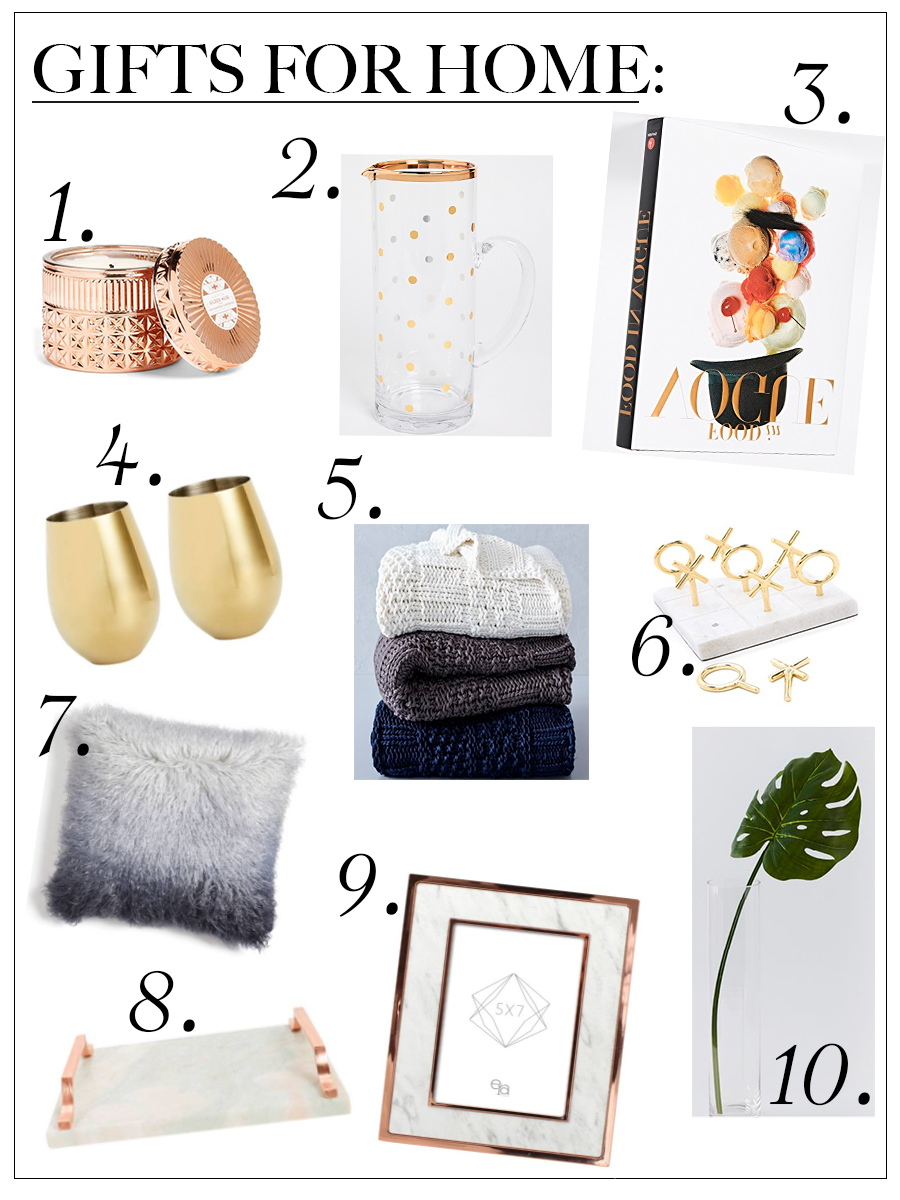 Collage of 10 Home decor gift ideas for the Holidays from Shopbop, Nordstrom and more.