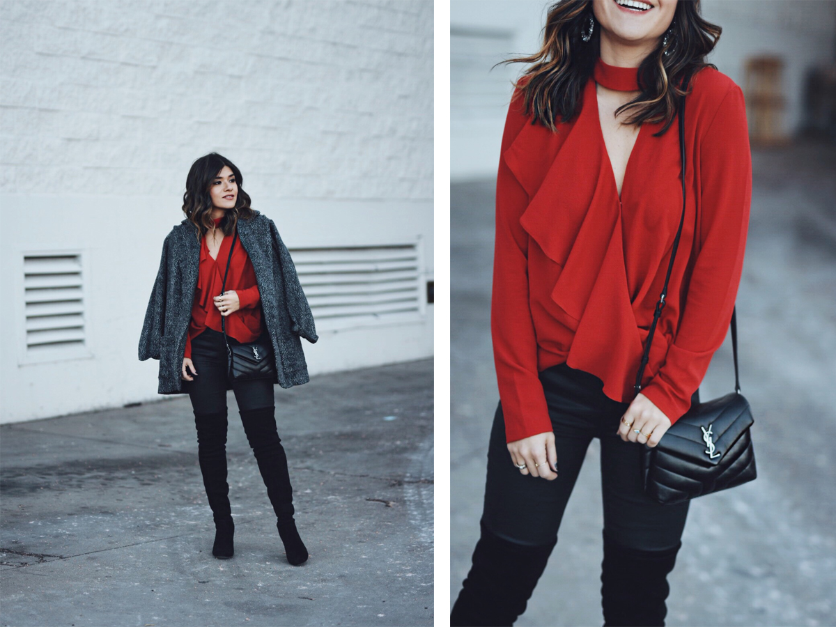 Carolina Hellal of Chic Talk wearing B.P red top, Current Elliot waxed jeans, Shein coat and YSL crossbody bag.