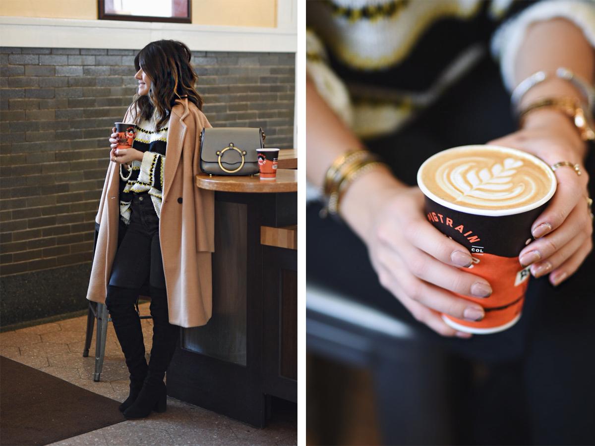 Carolina Hellal enjoying a cup of coffee at PigTrain Coffee in Denver