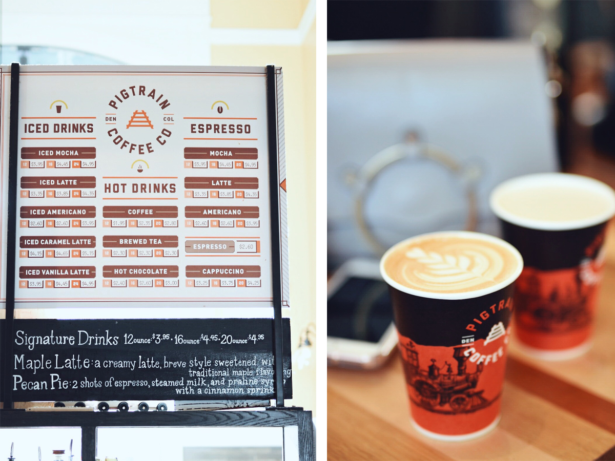 A drink menu and a cup of coffee from PigTrain Coffee in Denver