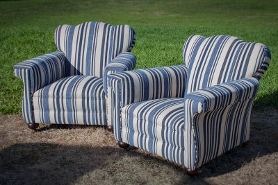 Blue & White Stripe Upholstered Club Sofa