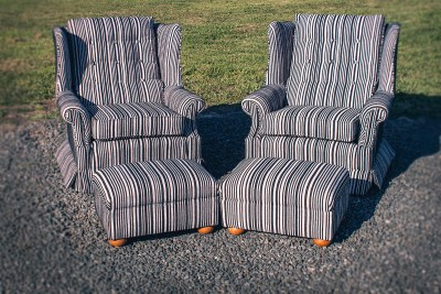 Perfectly Pattern Matched Stripe Wing Back Chairs with Matching Ottomans