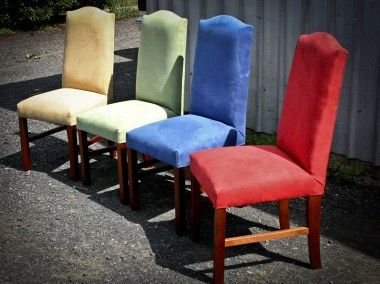 Brightly Coloured Upholstered Dining Chairs