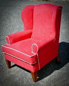 Custom Built Red Wing Back Chair