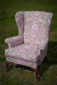 Upholstered Feminine Wing Back Chair