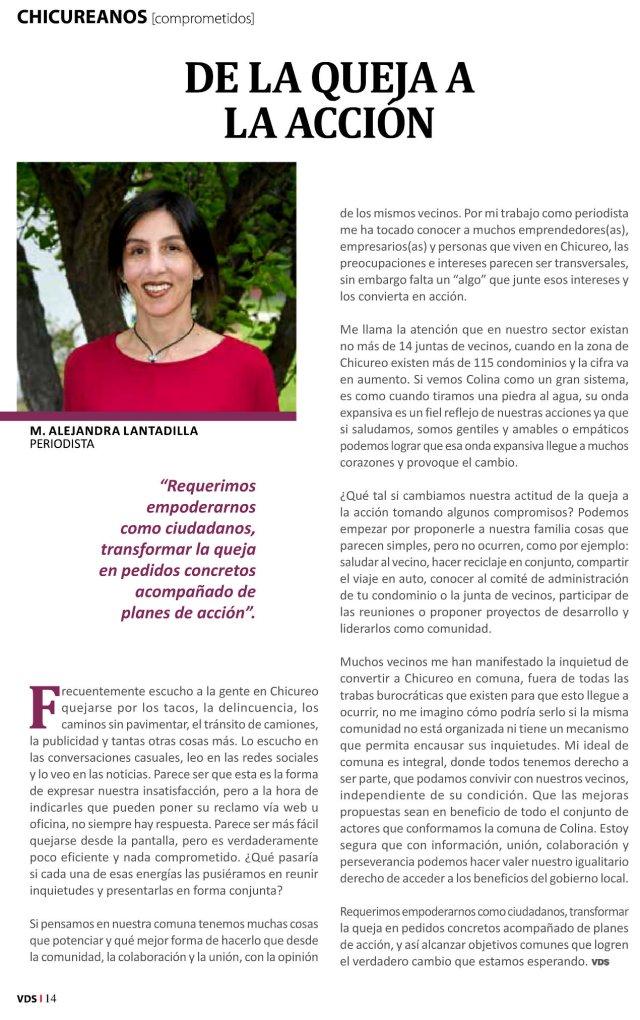 Artículo por Alejandra Lantadilla en la revista Valles del Sol de noviembre de 2015.