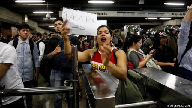 Protestas en el Metro de Santiago.