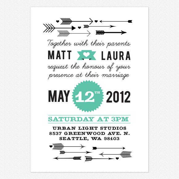 Modern Vintage Wedding Invitation