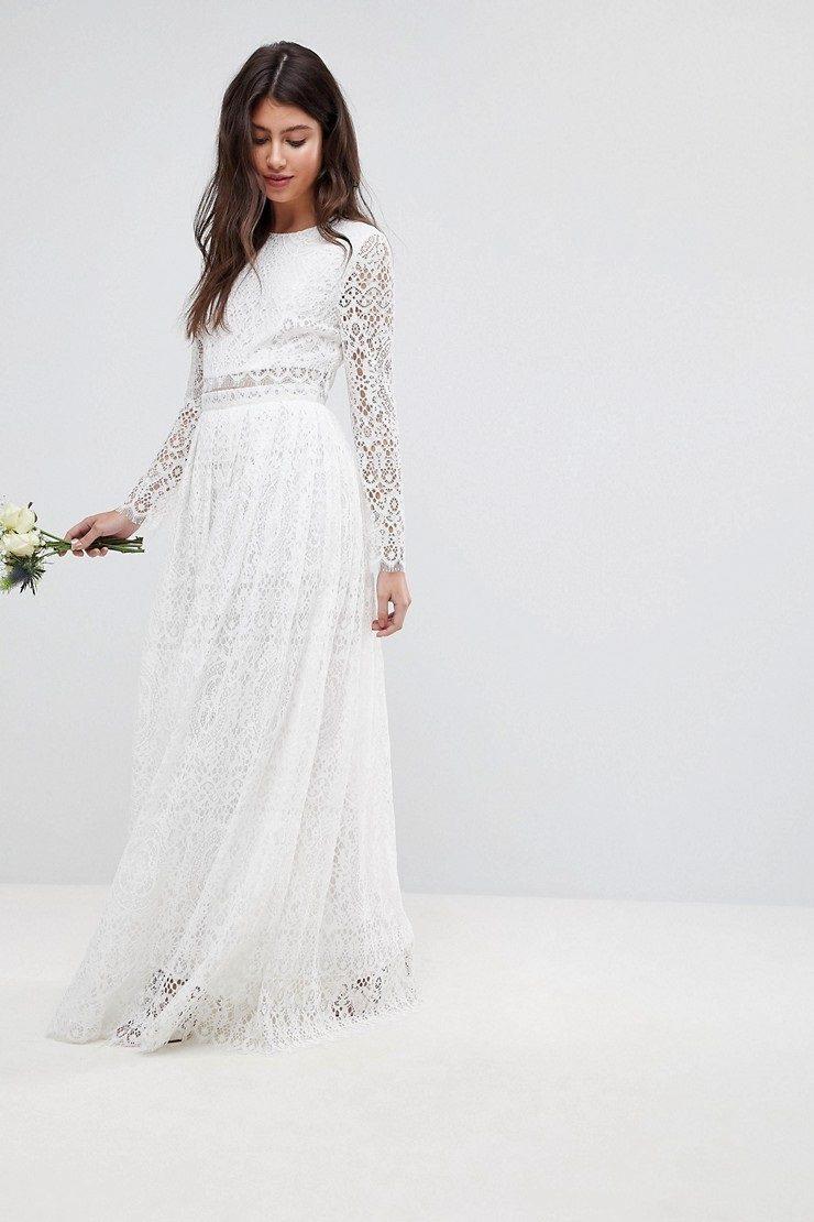 Lace Long Sleeve Crop Top Maxi Wedding Dress Chic