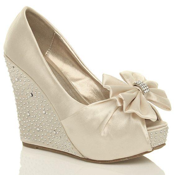 Ivory Wedge Bridal Shoes