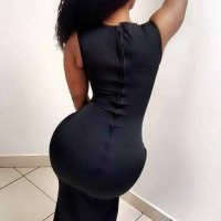 South African Black Woman in Attractive Tight Maxi Dress