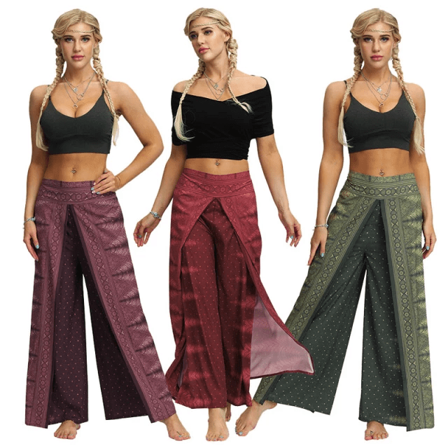 High-Slit Overlay Boho Pants - Bohemian Pants with Abstract Patterns and Colors