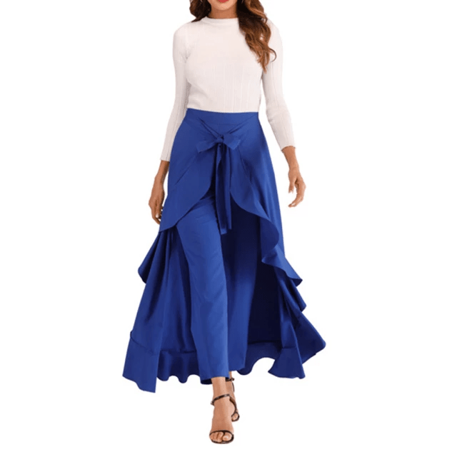 High Waist Front Tie Split Skirt Overlay Pants for Women