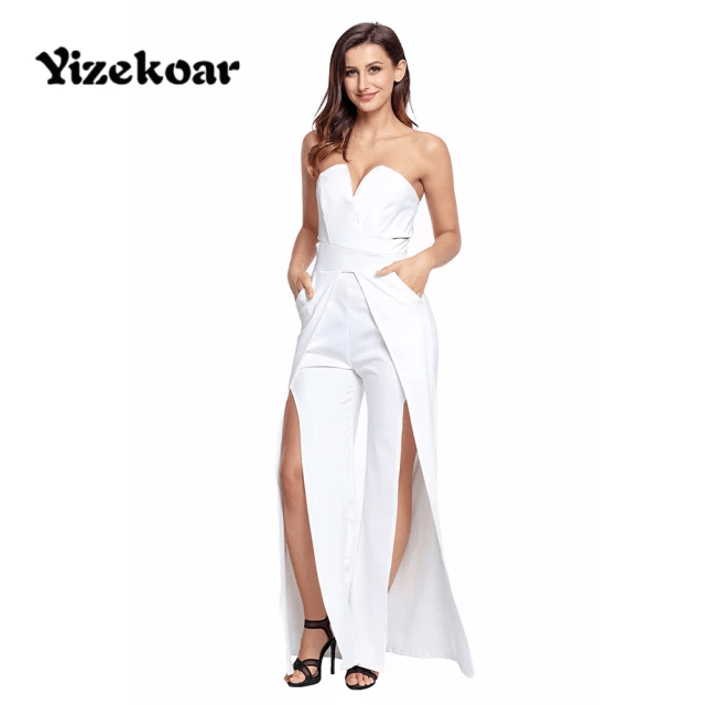 Jumpsuit with High-Slit Legs - Strapless Jumpsuit Wide Long Pants for Women Split Legs (9)