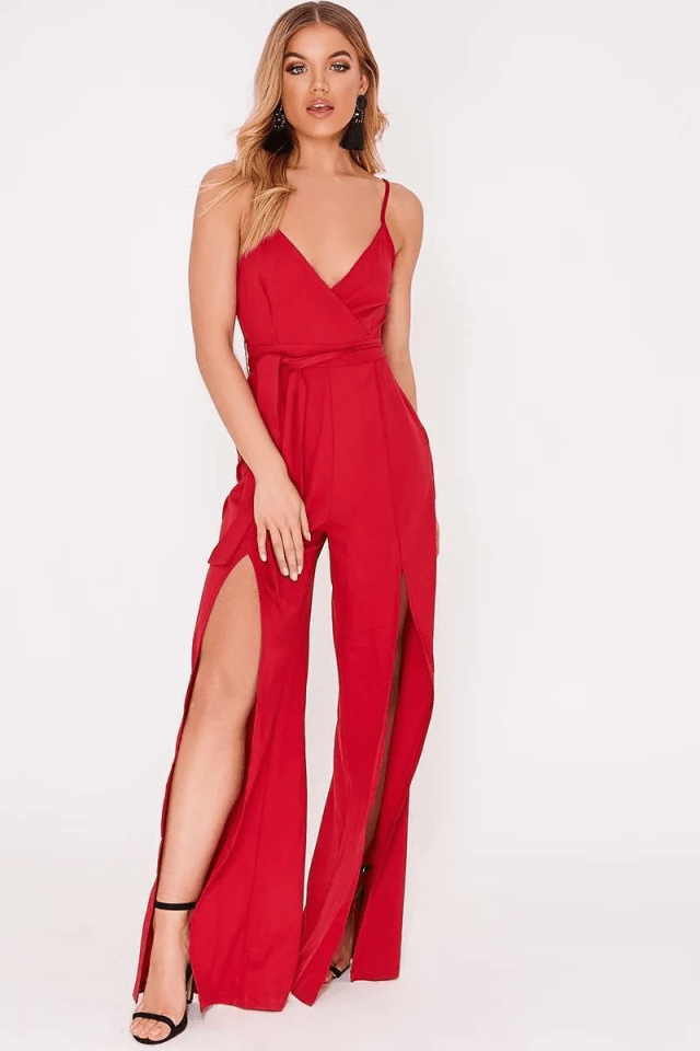 Jumpsuit with Slit Legs Red Sleeveless Shoulder Strapped