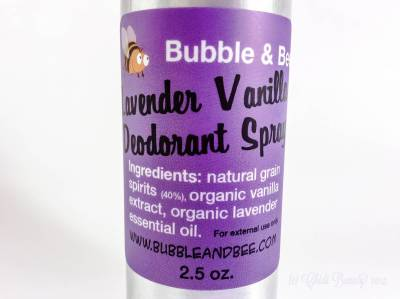 Bubble & Bee Deodorant Spray in Lavender Vanilla Ingredients