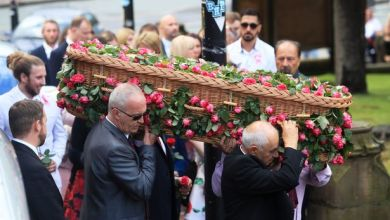 Hundreds of mourners gather at Saffie Roussos' funeral in Manchester to pay tribute to youngest Arena attack victim