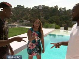 Paul Pogba pushes unsuspecting ESPN reporter into swimming pool in LA during interview