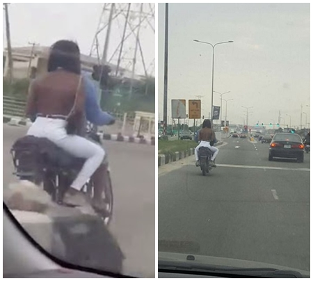 Slay Lady - A topless girl in Lekki