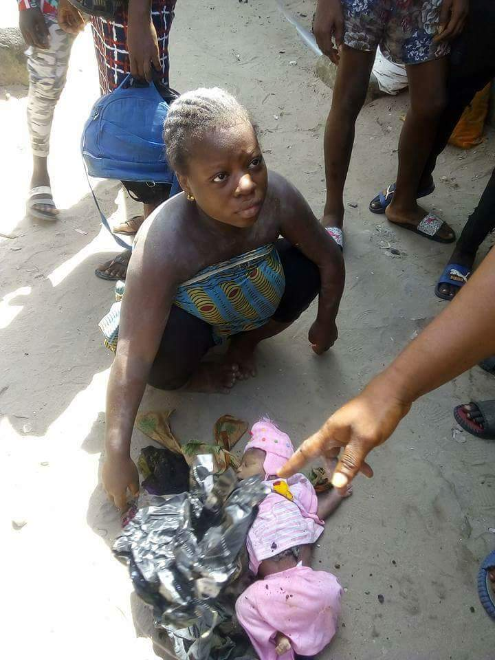 [GRAPHIC VIDEO & PHOTOS] Physically Challenged Mother Kills Child After Delivery In Ughelli, Delta State Wonders they say will never end, some of these wonders happens beyond human imagination, just like in this case of homicide. A well calculated plans been executed by One Miss Elohoh who is within her late 20s and resides with her mother and siblings at No 1 omohwovo street, Iwhrekpokpo in Ughelli North, Delta State Miss Elohoh who is a physically challenged and also a plantain chips seller, murdered her child after delivery today 27th Nov 2017 in her home. Report has it that she put to bed a handsome boy late in the evening of yesterday in her house without aid or assistance from neighbor's or midwife. But the cry of the baby attracted the attention of one of the neighbor's, who call on others on the suppose good news. On arrival they saw that the door was locked and Miss Elohoh refuse to open the door but on persistent one of the siblings opened. The kind hearted neighbor's did a marathon in getting some of the needed materials likes cloths and food for the baby and mother since she didn't buy any. Jubilation was agog celebrating the arrival of the bouncing baby boy most especially from a physical challenged person not knowing that miss Elohoh has evil intentions for the child. After the celebration everyone went home leaving Elohoh and one of the siblings since the mom was not around that day hoping to check on her in the morning. As faithful as the neighbors they came in the morning to see how Elohoh and her baby was doing only to find out that there was no baby anywhere. They asked Elohoh about the child where she claim that the father came late in the night and took the baby away having noticed that the child was not breathing well as claimed by her. The neighbor's could not believe the story Elohoh gave and decided to interrogate her, she held on to the same story but one of them suggested that the sibling will give a better story of what actually happened 