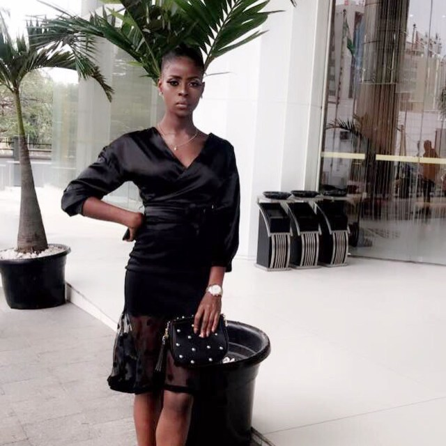 BBNaija 2018: Khloe glows in black with a touch of red in Lagos (Photos)