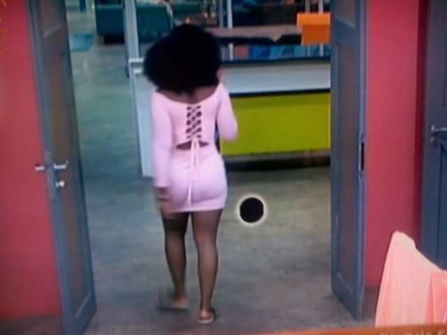 BBNaija 2018 Day 79: Flawless Cee-c goes braless on pink skimpy cloth