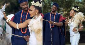 BBNaija 2018 ex-housemates Ifu Ennada & Leo share new bridal themed photos