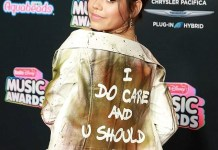 "The first lady wore a jacket that said ""I really don't care, do u?"" during her visit, while teenage actress was pictured on the red carpet with a jacket that said, ""I do care and u should too."" See more photos below."