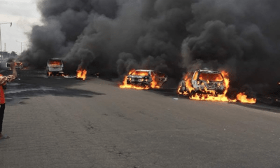 Cars and people burnt as tanker explodes on Otedola bridge, Lagos-Ibadan expressway (photos)