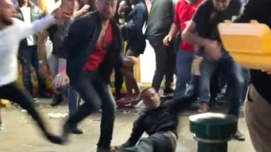 Woman and 11 men throw punches and kicks in 4am mass brawl outside takeaway