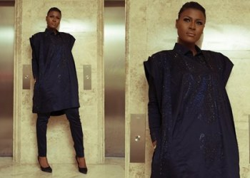 Fashion: Alex looks stunning in Agbada style at AY movie premiere Merry Men